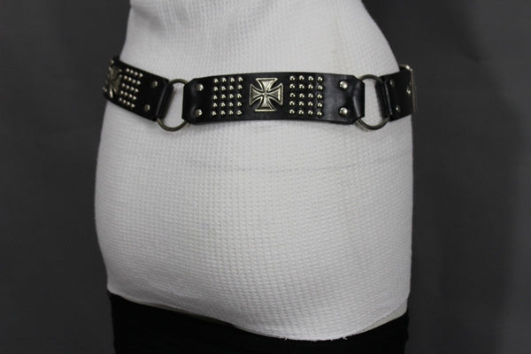 Black Faux Leather Biker Style Belt Silver Buckle Iron Cross New Women Fashion Accessories S M L XL - alwaystyle4you - 3