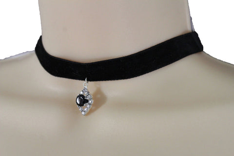 Black Faux Suede Thin Strap Narrow Charm Choker Necklace New  Women Fashion Jewelry Accessories