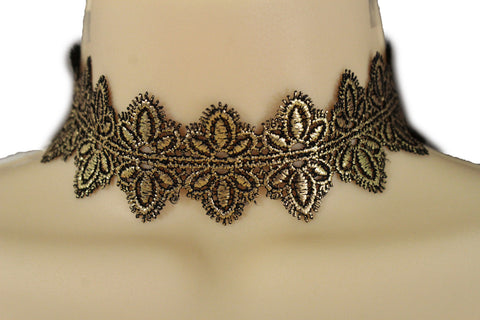 Black Gold Metallic Lace Fabric Wide Band Choker Necklace New Women Fashion Accessories