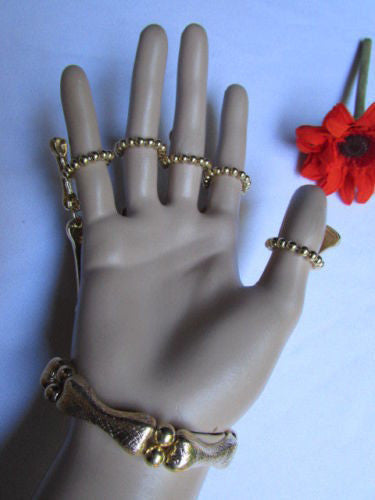 Gold Silver Metal Hand Chain Bracelet 5 Fingers Skeleton Slave Ring New Women Accessories