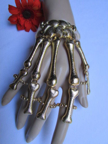 Black Gold Silver Metal Hand Chain Bracelet 5 Fingers Skeleton Slave Ring New Women Fashion Biker Punk Accessories