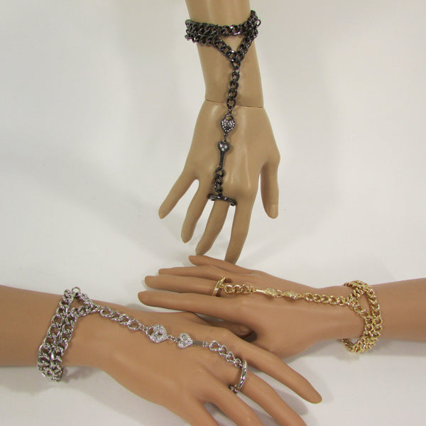 Black Gold Silver Metal Hand Chain Bracelet Finger Slave Ring Body Lock key Connected New Women Trendy Fashion Accessories