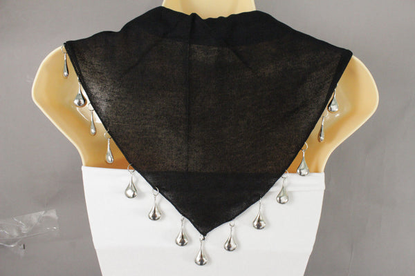 Black Gray Scarf Necklace Short Fabric Neck Multi Silver Drops Beads Solid Women Fashion Accessories