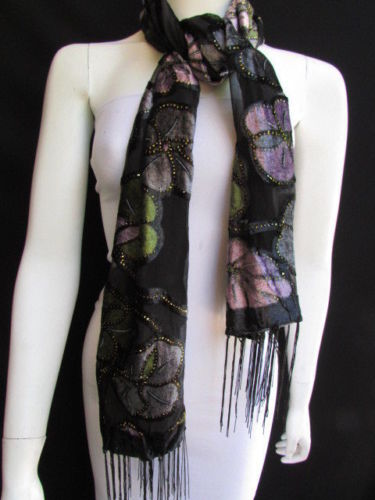 Black Long Fabric Neck Scarf Multi Colors Leaves Gold Faux Velvet New Women Fashion Accessories