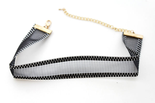 Brown Black Mesh Fabric Bans Sexy Hot Gold Metal Chain Choker Necklace New Women Fashion Accessories
