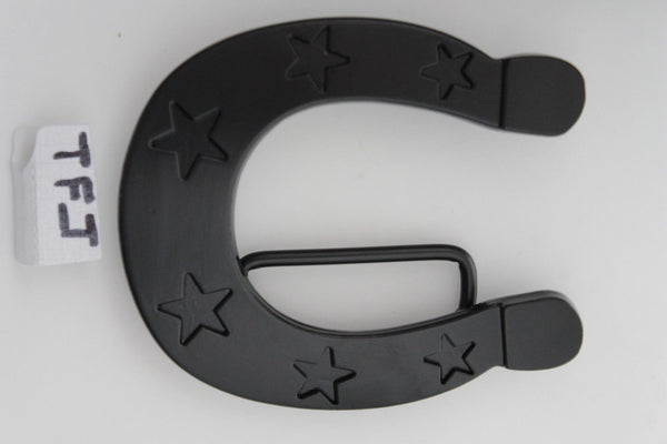 Black Metal Horseshoe Texas Star Luck Belt Buckle New Men Women Rodeo Accessories