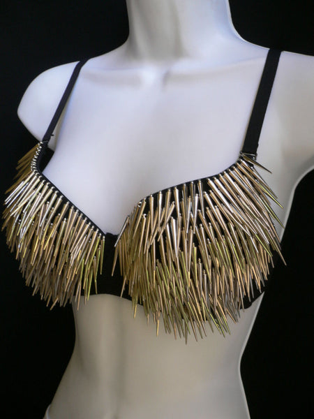 Black Sexy Bra Fringe Long Silver Gold Spikes Bralet Clubwear New Women Fashion Accessories
