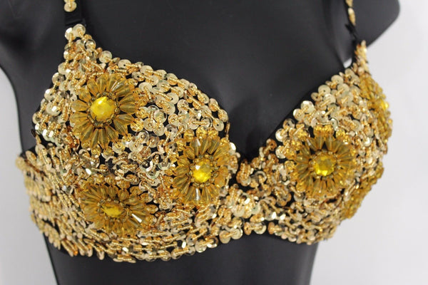 Black Sexy Bra Gold Sequins Flower Beads Bralet Club Wear New Women Fashion Accessories 38B