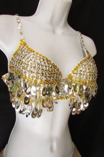 Black Sexy Bra Gold Silver Sequins Beads Bralet Club Wear New Women Fashion Accessories