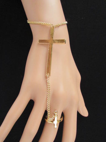 "Black Silver Gold Metal Bracelet Hand Chain Slave Ring Big Cross 7 1/2"" New Women Fashion Accessories"