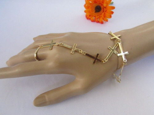 Black Silver Gold Metal Hand Chain Bracelet Slave Ring Multi Crosses New Women Trendy Fashion Accessories