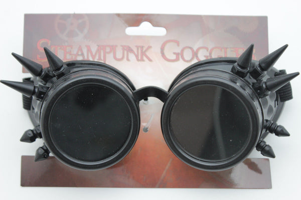 Black Silver Steampunk Goggles Punker Hard Plastic Spikes Rocker Biker New Men Fashion Accessories