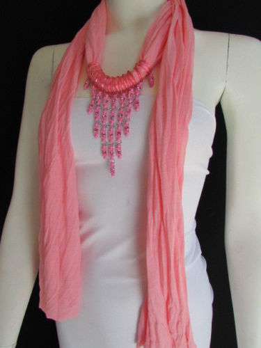 Black White Pink Baby Blue Fabric Scarf Necklace Silver Triangle Pendant Women Accessories