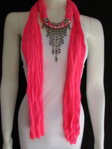 Black White Blue Pink Light Pink Lavander Baby Blue Soft Scarf Long Necklace Rhinestones Accessories