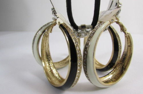 Black White Metal Classic Hoop Fashion Earrings Set Multi Rhinestones New Women Accessories