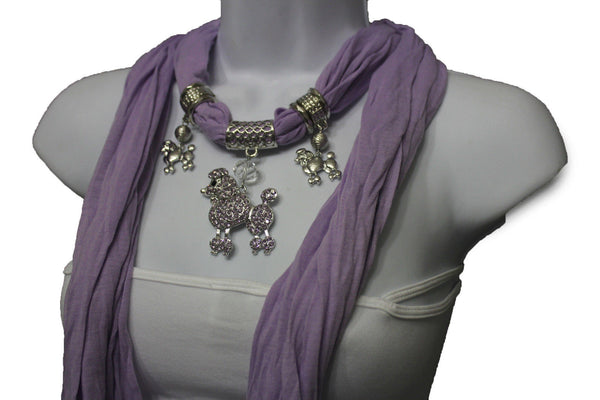 Purple Blue Black Pink Fuscia Soft Scarf Silver Metal Poodle Dog Pendant Women Fashion Accessories