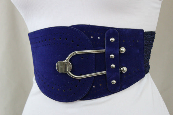 Blue Black Red Fabric Waist Hip Elastic Belt Silver Metal Hook Buckle Women Fashion Accessories S M