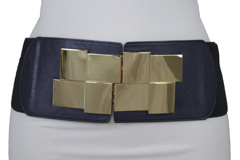 Blue Green Brown Red Faux Leather Elastic Wide Belt Gold Metal Buckle Women Accessories S M