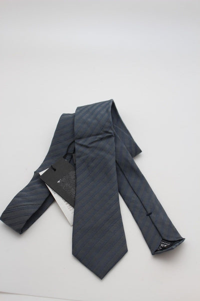 Blue Grey Strips Classic Style Dress Narrow Neck Tie Giorgio Armani New Men Fashion GA