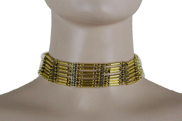 Bohemian Gold Metal Choker Necklace + Earrings New Women Fashion Accessories Jewelry