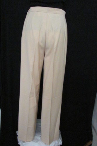 Tan Beige Classic Wool Trousers Slacks Pants Brand New Agnona Women Fashion Size American 10