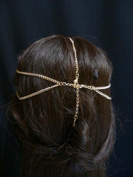 Gold Silver Metal Head Chain Circlet Clear Rhinestone Women Wedding Body Jewelry Accessories