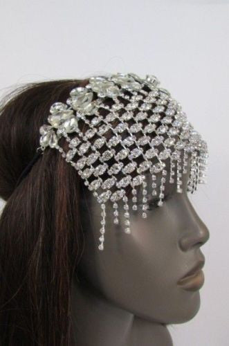 Silver Metal Front Head Band Trendy Multi Rhinestone Flower Casual Women Wedding Accessories