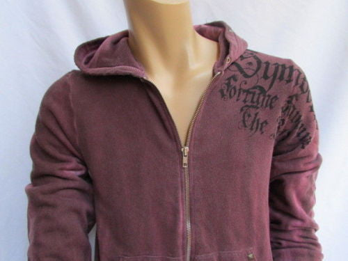 Dark Purple Hooded Symbolic Jacket Front Zipper Sport Chic Style Brand New Men Fashion Size Small