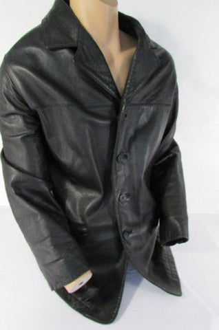 Navy Blue Faux Leather Coat Jacket Cap Blouson New Men