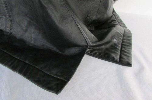 Black Leather Classic Short Jacket Coat Brandini Le Collezioni Men Elegant Dressy Fashion Size Large