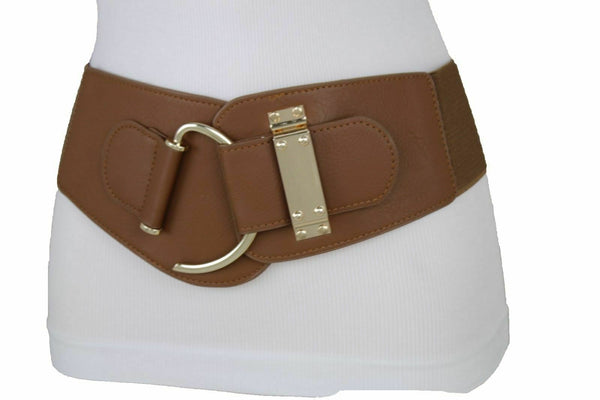 Brown Belt Hip High Waist Elastic Waistband Fun Women Hook Metal Buckle L XL XXL