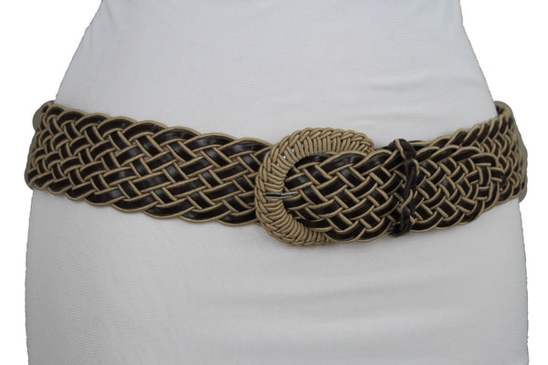 Brown Beige Black Gray Red Black Faux Leather Fun Classic Braided Hip Waist Belt Women Accessories