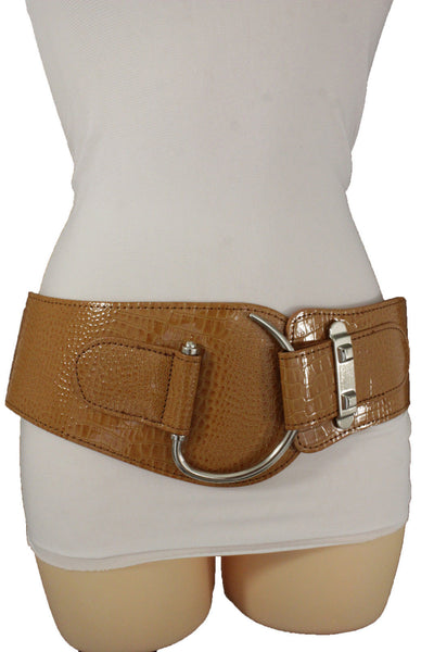 Brown Beige Faux Leather Crocodile Skin Wide Elastic  Corset Belt Big Silver Hook Buckle Women Accessories S M