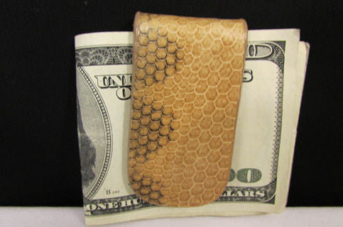 Brown Black Beige Snake Skin Genuine Leather Magnet Money Clip