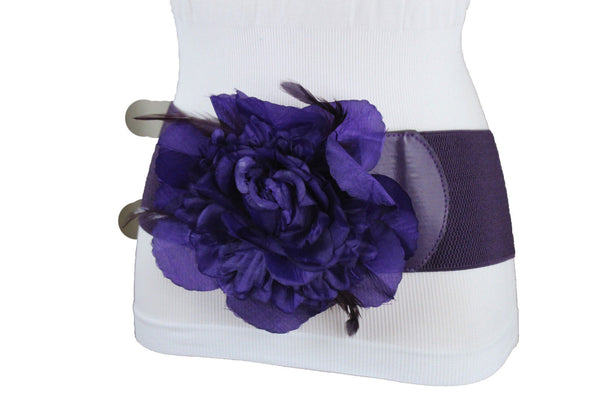 Brown Black Gold Silver Purple Gray Elastic Stretch Belt Big Fabric Flower Buckle Women Plus Size