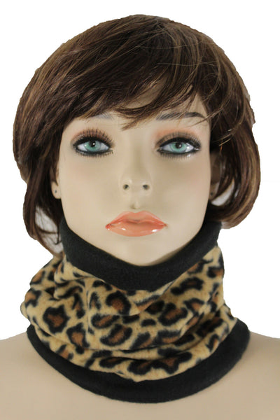 Brown Black Leopard Print Neck Warmer Scarf Turtle Cover Mask Hat Sport Men Women Accessories
