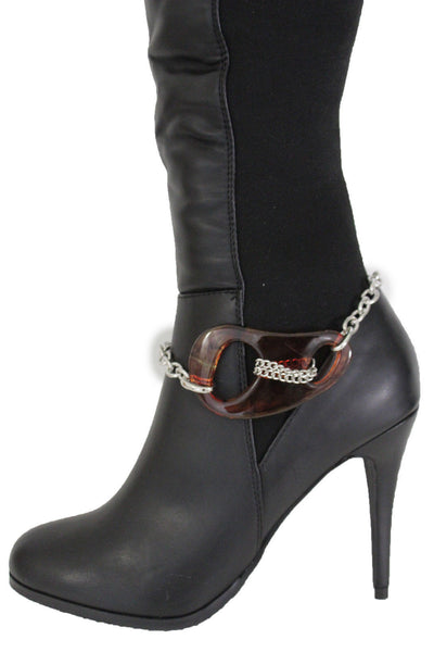 Brown Chicago Big Bean Silver Anklet Metal Boot Bracelet Shoe Charm Women Fashion Accessories
