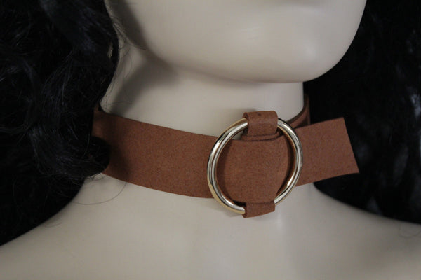 Black Brown Gray Green Red Faux Leather Gold Ring Choker Necklace Women Fashion Accessories