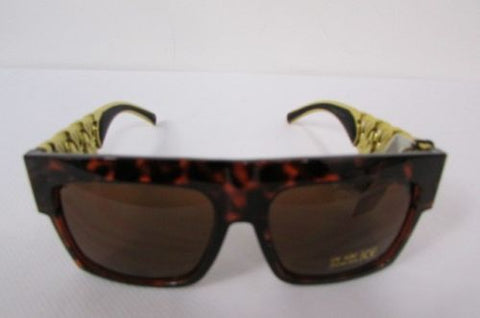 Brown Leopard Black Chunky Gold Chains Sunglasses Frame Plastic Hip Hop Women Fashion Accessories