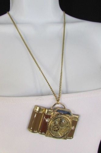 Brown Red Orange Long Rusty Gold Collector Camera Old Fashion Necklace New Women Accessories