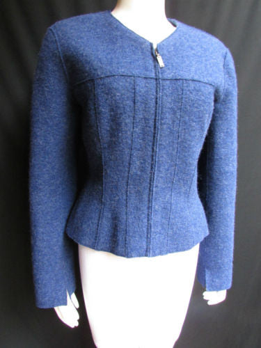 Blue Wool Classic Zipper Jacket Coat Chanel Identification Women Fashion Size American 8 Italian 42
