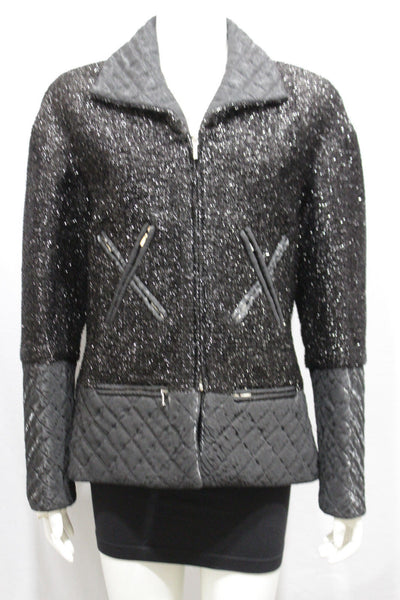 Silver Sparkling Black Coat Jacket Long Sleeve Zipper Chanel Cocktail Style Women Size Medium 42