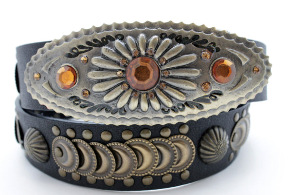 Cool Black Faux Leather Belt Women Fashion Antique Gold Metal Buckle Charms M L