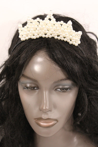 Cream Imitation Pearls Black Headband Crown Princess Queen New Women Fashion Accessories