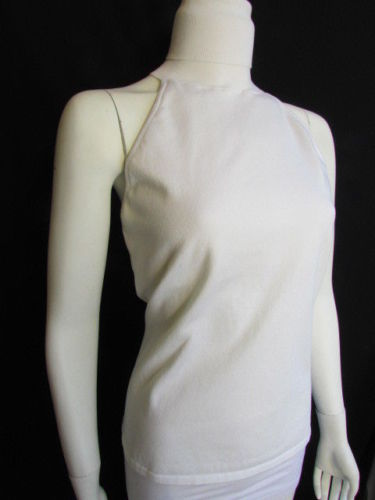 Cream Off White Halter Turtleneck Top Sleevesless Ralph Lauren Women New Fashion Size Large