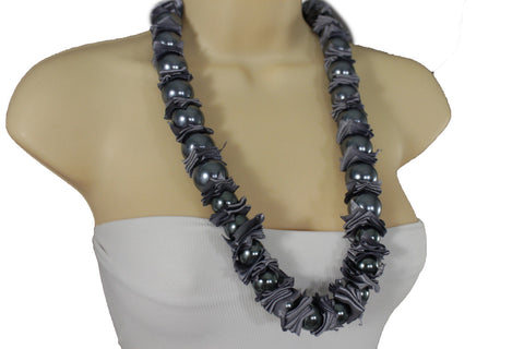 Cream Dark Gray Fabric Big Imitation Pearl Bead Classic Long Necklace Women Accessories