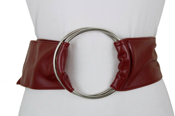 Cute Women Dark Red Wine Burgundy Wide Fabric Band Belt Silver Ring Buckle S M L