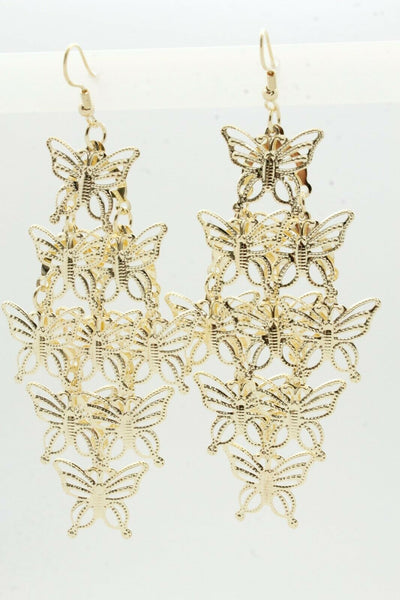 Cute Women Fashion Earrings Gold Color Shiny Metal Butterfly Charm Spring Summer