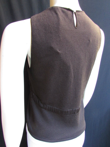 Dark Brown Thin Wool Knit Top Sleevesless Sweater Blouse Valentino Brand New Women Size Large