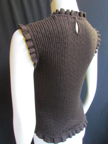 Dark Brown Wool Elastic Sleeveless Top Thin Beads Sweater Brand Valentino New Women Size Large